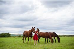 Pferd, Mädchen, rotes Kleid