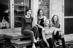 Mädchen, Freunde, cool, Treppe