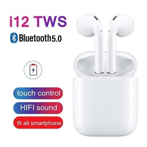 i12 Twin True Wireless Earphone Twin With Pouch Charging Dock, i12 Wireless Blue