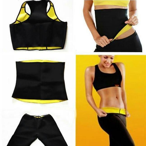 Pack of 3 - Hot Shaper Belt, Trouser & Bra - Black & Yellow