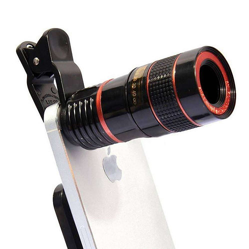 8X - Telescope Universal Clip Mobile Camera Zoom Lens - Black & White
