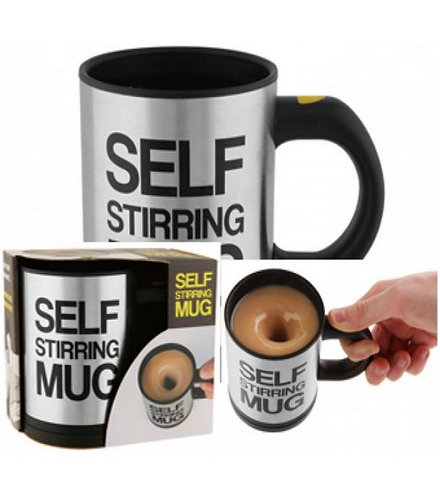 Self Stirring Mug - Black & Silver