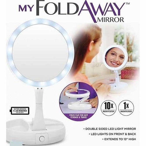 My Fold-Away Mirror The Lighted Double Sided Led Vanity Makeup Mirror