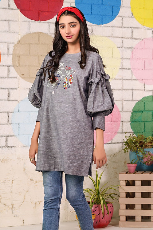 1 Piece Embroidered Yarn Dyed Shirt