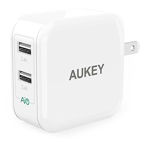 AUKEY PA-U38 UNIVERSAL DUAL-PORT 24W USB WALL CHARGER – IPHONE & SAMSUNG