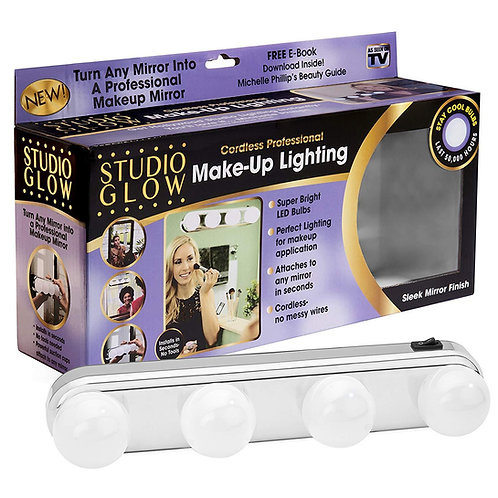 Ultra-Bright 4 LEDs Bulbs Studio Glow Make Up Light Table Cosmetic Kit Battery P