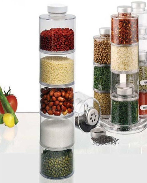 DEALS SET OF 6 - Spice Tower Stacking Bottles With Sifter Lids