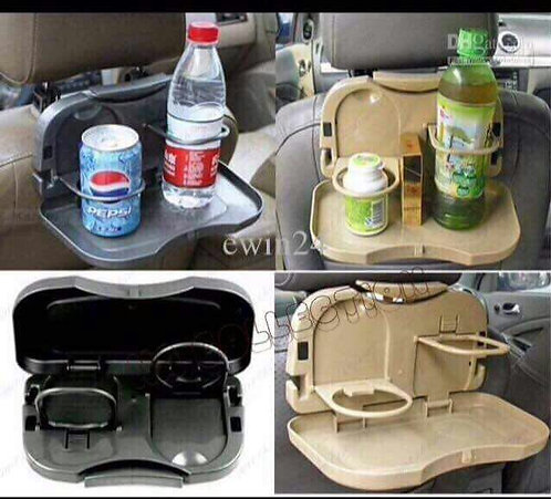Travel Dining Tray Foldable Car Back Seat Drink Stand Bottle Rack Holder