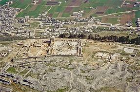 Mount Gerizim summit aerial from west, b