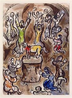 L'adoration du veau d'or, Marc Chagall, 1966