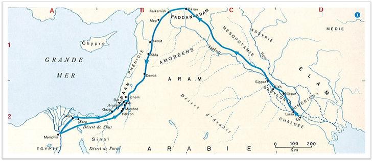 Itinéraire d'Abraham d'après Gn 12-25