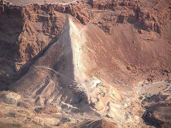 Masada Roman siege ramp aerial from west