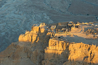 Masada northern palace aerial from west,