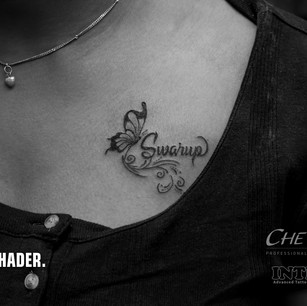 Butterfly with Swarup Name Tattoo