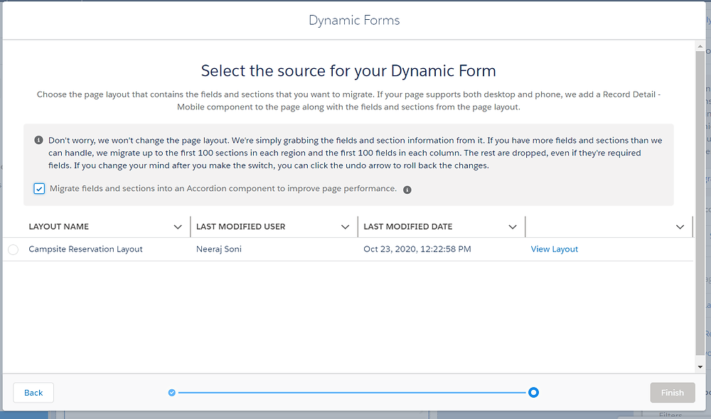 Select the source for your Dynamic Form
