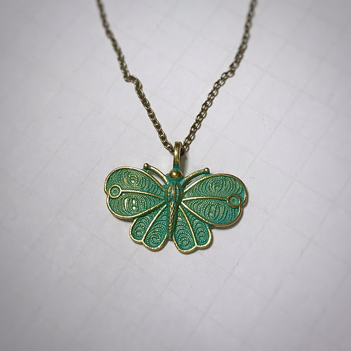 Tarnished butterfly necklace