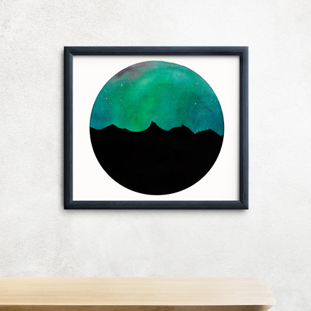 "Tucker Mountain Aurora - 9x9"" watercolor on paper"