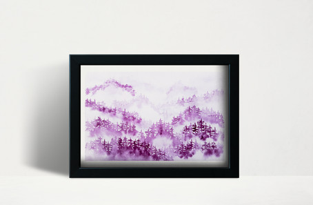 """Quinacridone Lilac Foggy Trees - 5x7"""" watercolor on paper"""