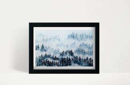 "Indigo Foggy Trees - 5x7"" watercolor on paper"