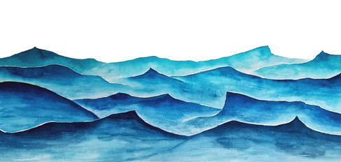 Ocean Wave Graphic - watercolor on paper