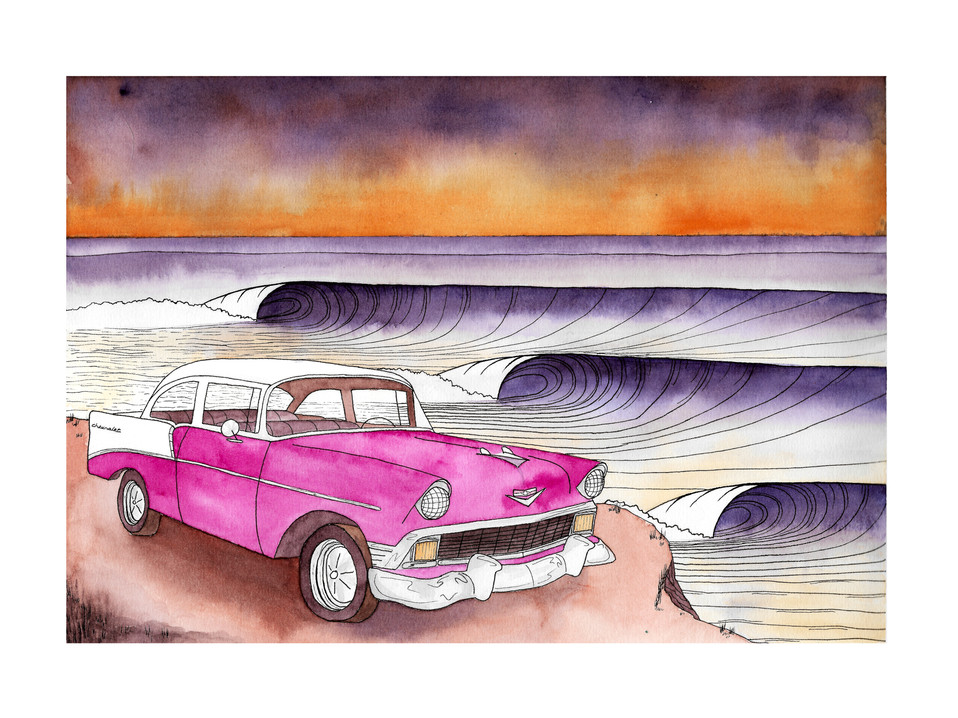 """1956 Chevy by the Beach - 9x12"""" watercolor and ink on paper"""