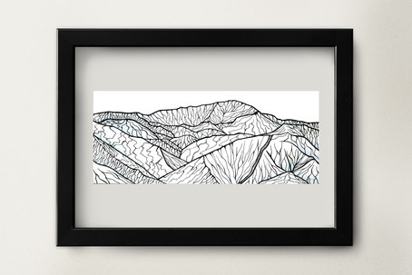 """Pikes Peak with Incline - 8.5x3.5"""" watercolor and ink on paper"""
