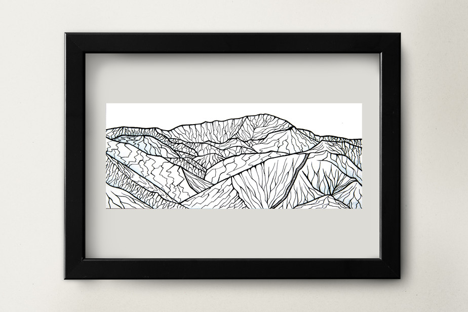 "Pikes Peak with Incline - 8.5x3.5"" watercolor and ink on paper"