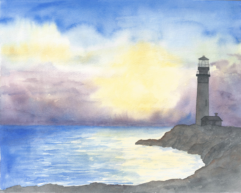 """Lighthouse - 8x10"""" Watercolor on Paper"""