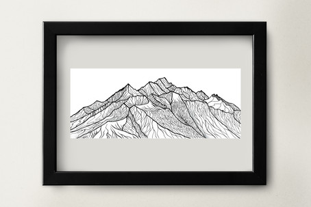 """New Zealand Peak - 8.5x3.5"""" watercolor and ink on paper"""