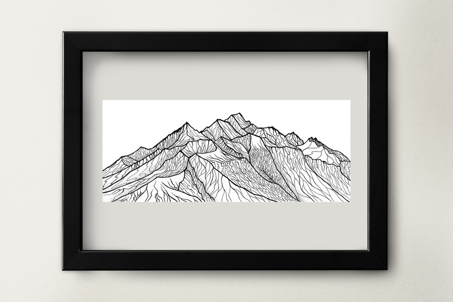 "New Zealand Peak - 8.5x3.5"" watercolor and ink on paper"
