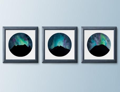 "Aurora Series - 4x4"" watercolor on paper"