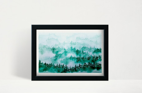 """Emerald Foggy Trees - 5x7"""" watercolor on paper"""
