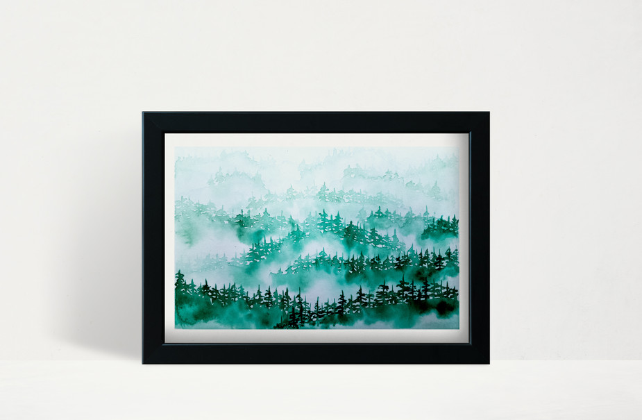 "Emerald Foggy Trees - 5x7"" watercolor on paper"
