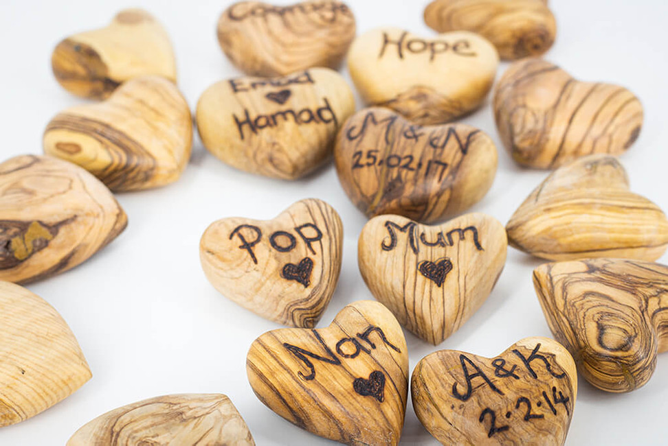 Olive Wood Hearts @QVM Flamin Signs