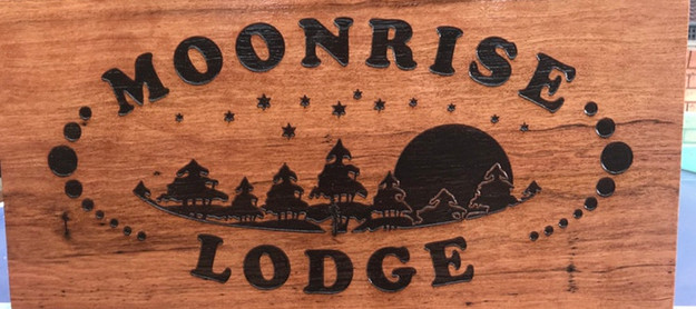 Custom timber property sign with logo engraved