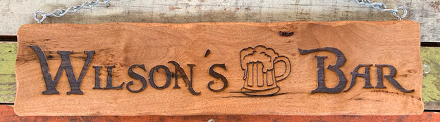 Personalised Bar Sign with Natural look edge and eyebolts and chain for hanging