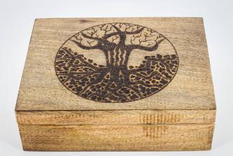 Tree of Life Large Mango Wood Box 2 @QVM Flamin Signs