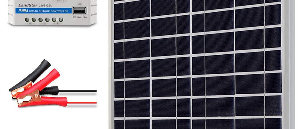 ACOPOWER 15W 12V Solar Charger Kit, 5A Charge Controller with