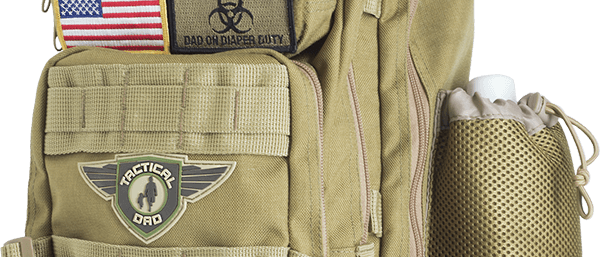 Khaki Tactical Dad Diaper Bag (Backpack Style) w/ Removable Patches