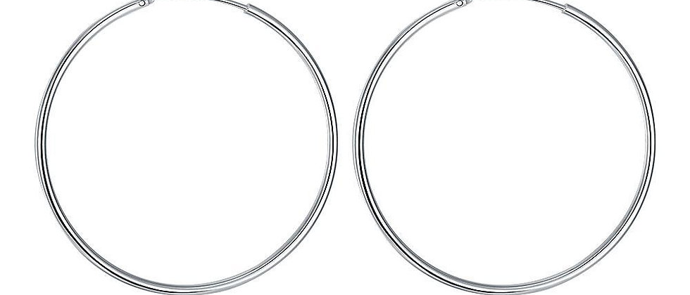 50mm Smooth Hoop Earring in 18K White Gold Plated
