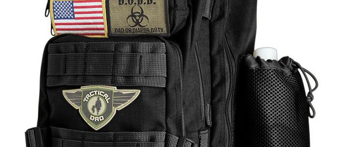 Black Tactical Dad Diaper Bag (Backpack Style) w/ Removable Patches