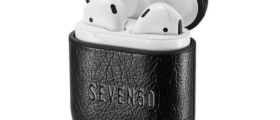 SEVEN50 Black Leather AirPods Case With Hook