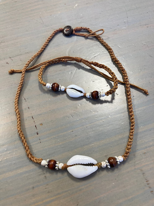 Cowrie Necklace and Bracelet Combo