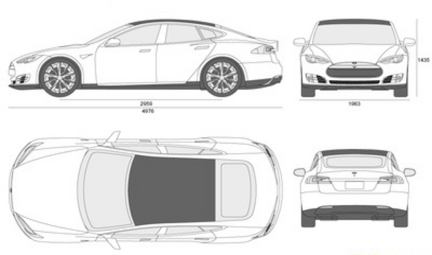 Orthographic Drawings of the Tesla Model S