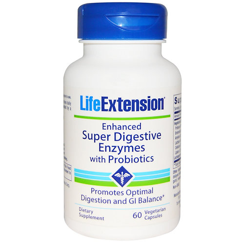 Enhanced Super Digestive Enzymes with Probiotics 60 Cap by Life Extension