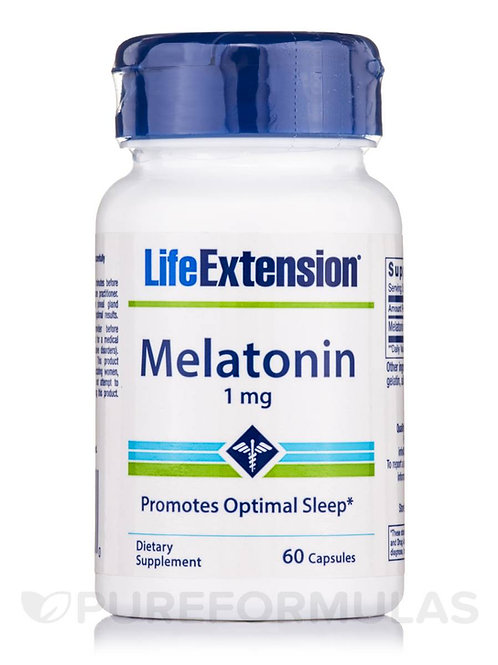 Melatonin 1mg 60 Caps by Life Extension