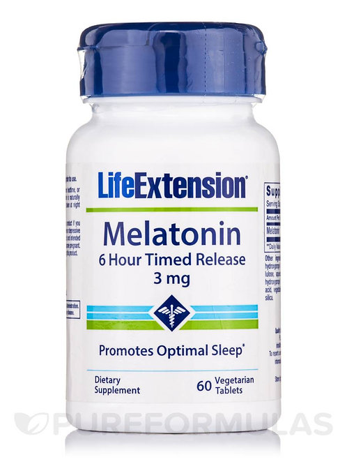 Melatonin 3 mg 6-Hour Timed Release 60 Tab by Life Extension