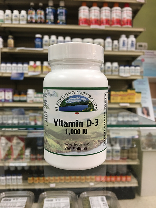 Vitamin D-3 1,000IU by Everything Natural 250 Softgels