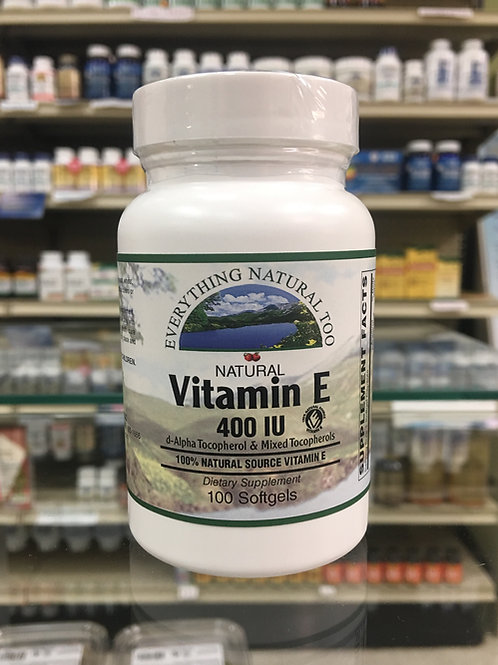 Natural Vitamin E 400 IU by Everything Natural 100 Softgels