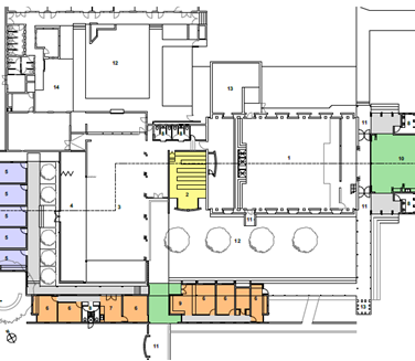 Plan with additions in colour